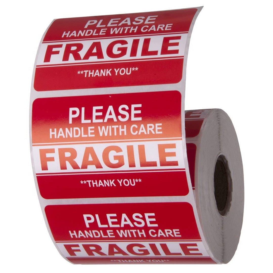 1 Roll, 500 Labels Stickers for Shipping-Labels 2 x 3 Handle with Care Fragile Thank You Warning Fragile Permanent Adhesive Fragile Stickers